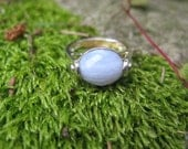 Vintage Blue Lace Agate and Sterling Silver Ring, Size 7, Free Shipping