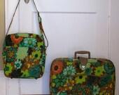 Vintage Vibrant Green Floral Luggage Set Japan suitcase travel case carry-on purse bag