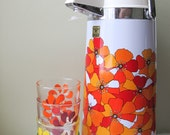 Funky Thermo Aire Jug Coffee Water cooler w/ Box Picnic Dispenser Accipiter Orange Flowers Floral Party Jug