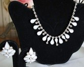 Necklace and Earrings Rhinestone And White Moonstone