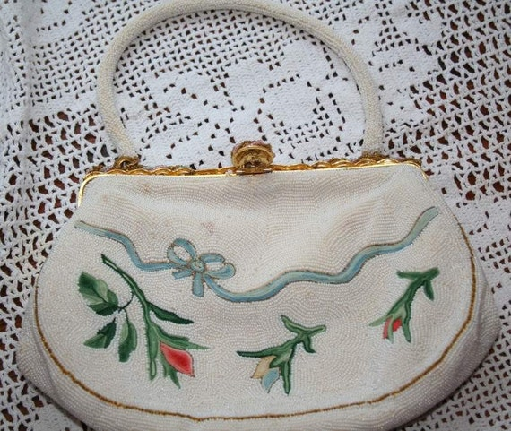 Embroidery and Mini Beaded Evening Purse - Made in France