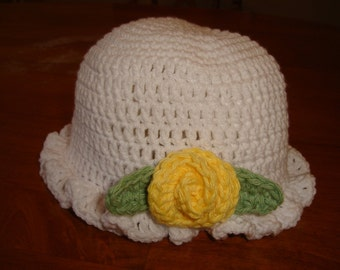 hand crochet white hat with flower
