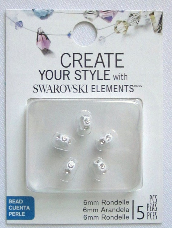 New Swarovski Mini White w/crystal rondelles--5 pcs
