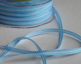 1/4 Inch Light Blue Check Ribbon, 10  yds