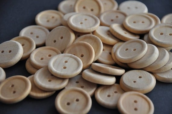 100 Round Wood Buttons