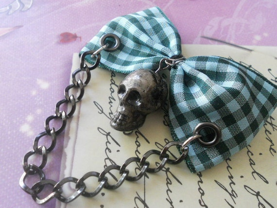 blue plaid Hair bow or Brooch with skull and chain punk lolita rockabilly