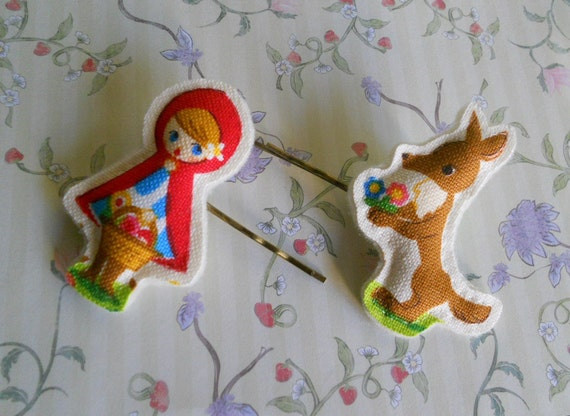 hair pin Little Red Riding Hood  and wolf fairy tale