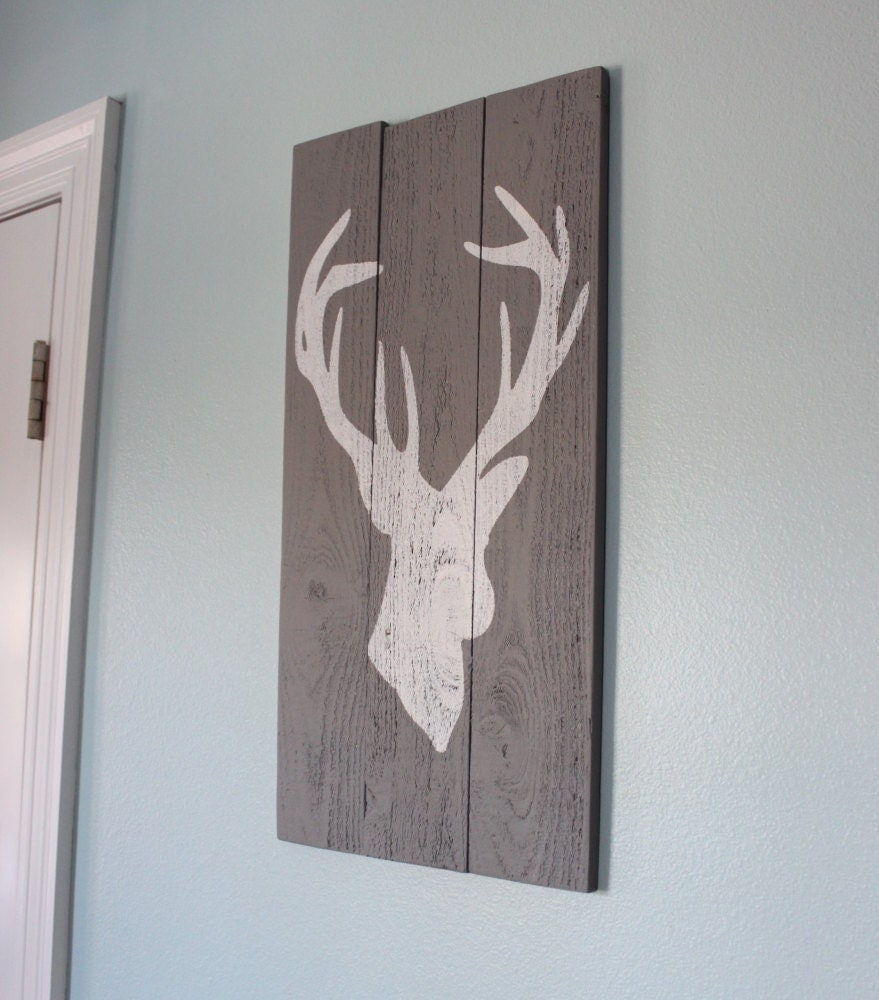 Grey and white distressed deer head silhouette wood sign art for Best home decor on etsy