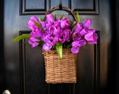 Basket Full of Tulips - Front Door Spring Arrangement