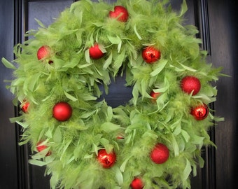 Lime Green Feather Wreath with Red Ornaments, Christmas Feather Wreath, Holiday Decoration