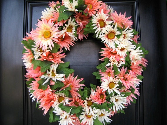 Pink and White Daisy Wreath, Year Round Wreath, Spring Time Wreath