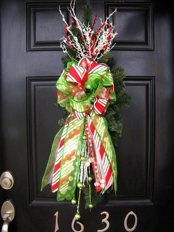 Christmas Wreath - Candy Striped Front Door Swag/Wreath