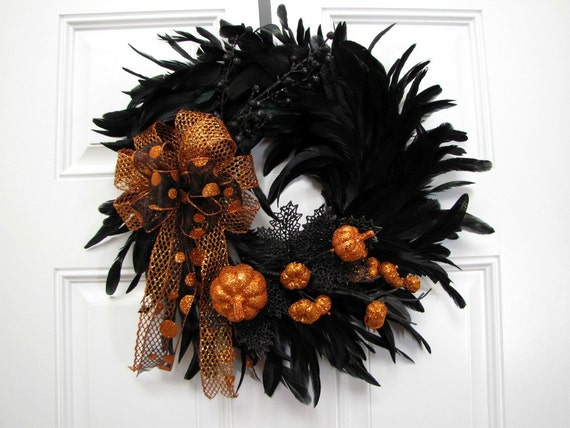 Halloween Feather Wreath Pumpkin Patch - READY TO SHIP