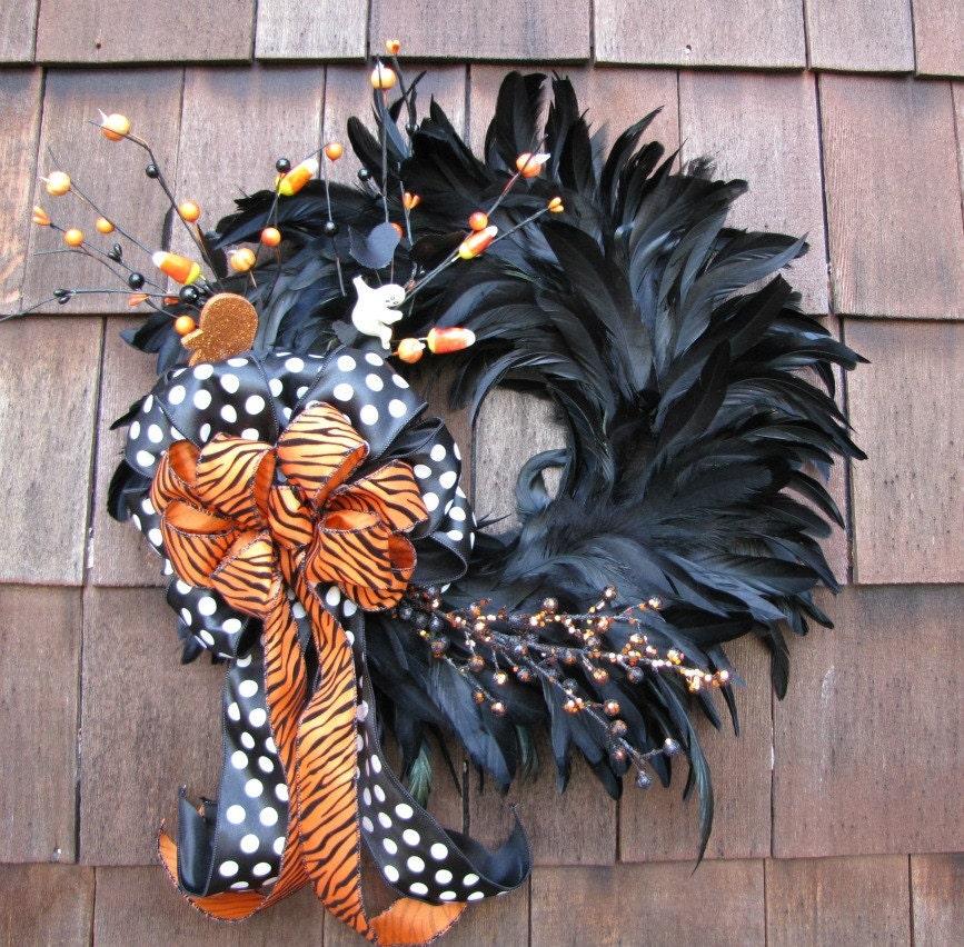 Black Flower And Crow Halloween Wreath: Sassy Black And Orange Halloween Feather Wreath