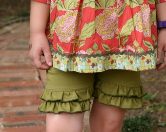 moss green knit double ruffle shorts shorties sizes 18m - 14 girls