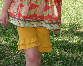 mustard yellow knit double ruffle shorts shorties sizes 18m - 14 girls