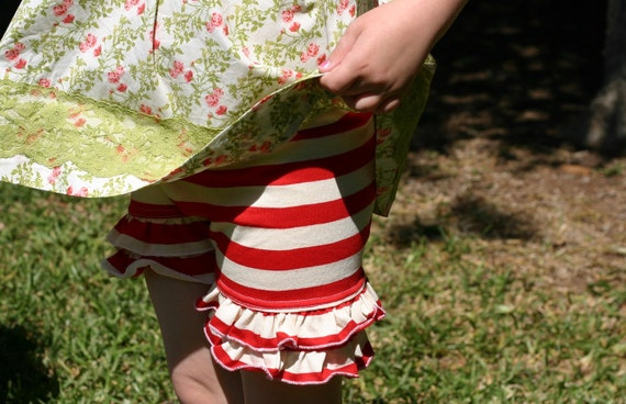 tomato red and cream stripe knit double ruffle shorts shorties sizes 18m - 8 girls