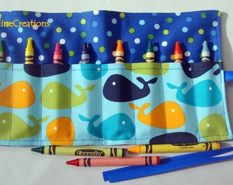 Crayon Roll Up Crayon Holder Blue Whales - Holds 8 Crayons