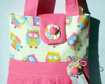 Girls Tote Bag Mini Tote Bag Small Bag Owl Meadley Ruffled