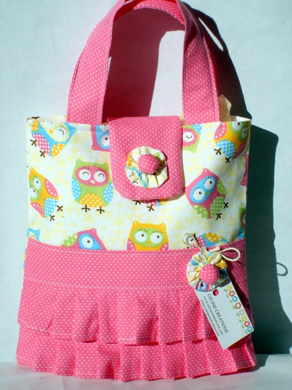 Girls Tote Bag Mini Tote Bag Small Bag Owl by CelineCreations