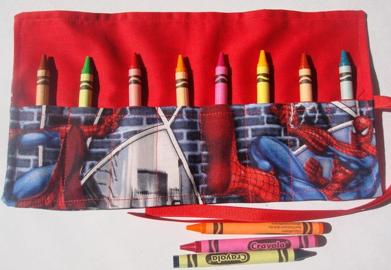 Crayon Roll Up Crayon Holder Spiderman - Holds 8 Crayons