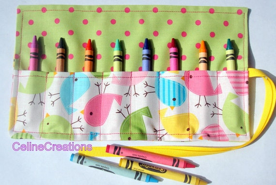Crayon Roll Up Crayon Holder Spring Birdies  - Holds 8 Crayons