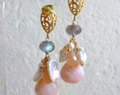 Icing Sugar. Pink Opal Keishi Pearls Peach Moonstone Labradorite 14k Gold Filled Earrings