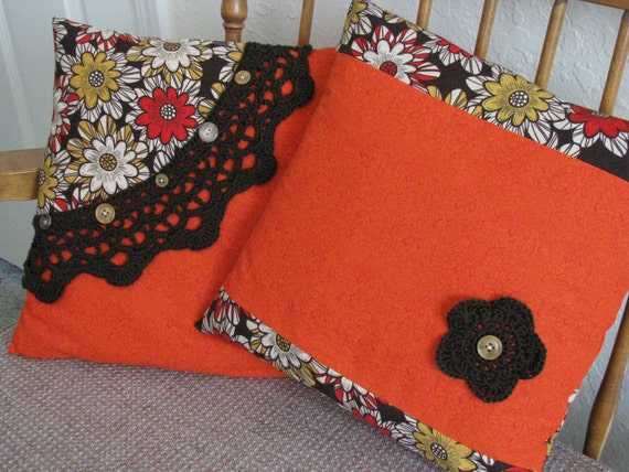 Brown & Orange Throw Pillow Covers 14X14 - Set of Two - Hand Crocheted Lace, Buttons, Floral, Retro, Stripe