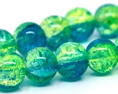 40 Beautiful Aqua and Green Crackle Glass Beads size 10mm.  Ships from the USA.