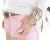 HypoxicAndLost - Handmade - BABY PINK Denim Cut Off Shorts
