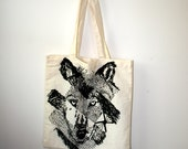 Wolf Library Bag. Eco-Friendly Cotton Tote