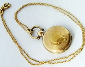 RESERVED for NANCY Victorian mourning fob locket English gold fill locket and chain