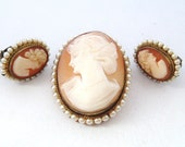 Antique shell cameo demi parure, brooch with clip earrings