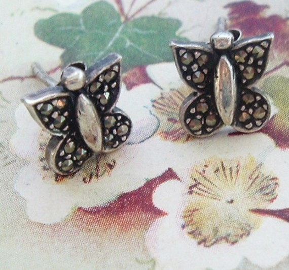Sterling marcasite butterfly stud earrings , sweet and tiny