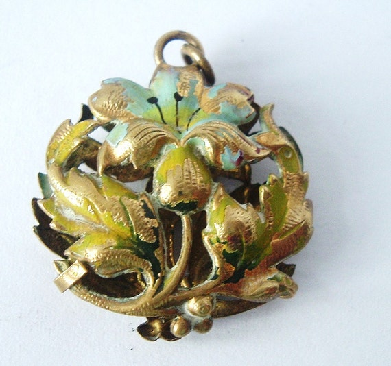 French pomander locket in cold painted brass
