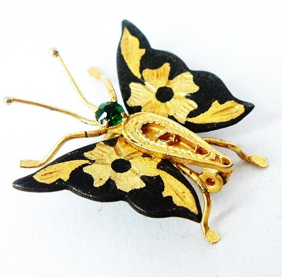 SALE Damascene butterfly bug brooch with faux emerald paste ,early 20th century