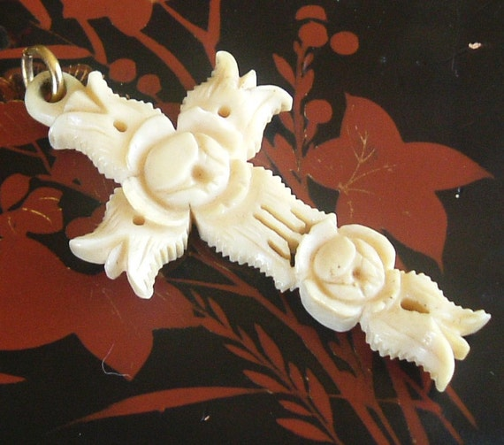 Antique French Ivory cross carved with roses, pre ban elephant ivory.
