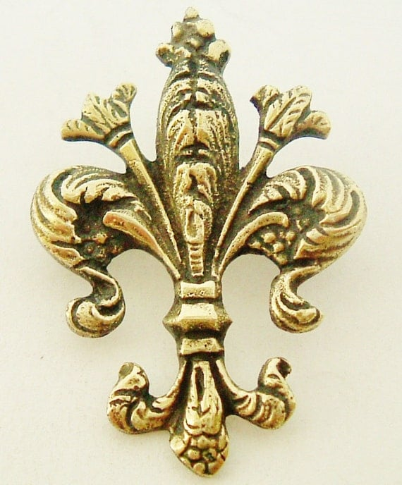 Antique French brass fleur de lis Royalist brooch