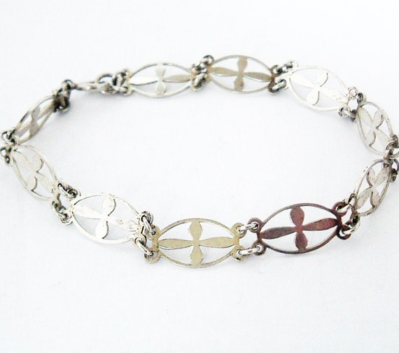Art deco sterling silver bracelet , gothic cross 4 way connector links