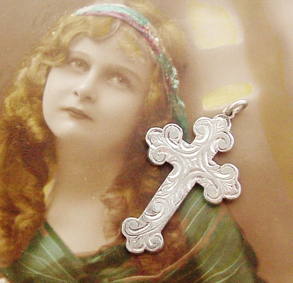 Beautiful antique cross, gothic sterling silver, hand engraved.