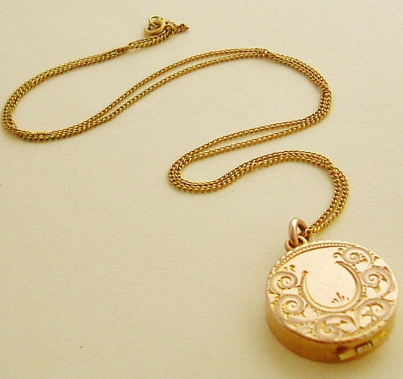 RESERVED for IZZY Fabulous gold fill locket & chain , hand engraved English Edwardian antique