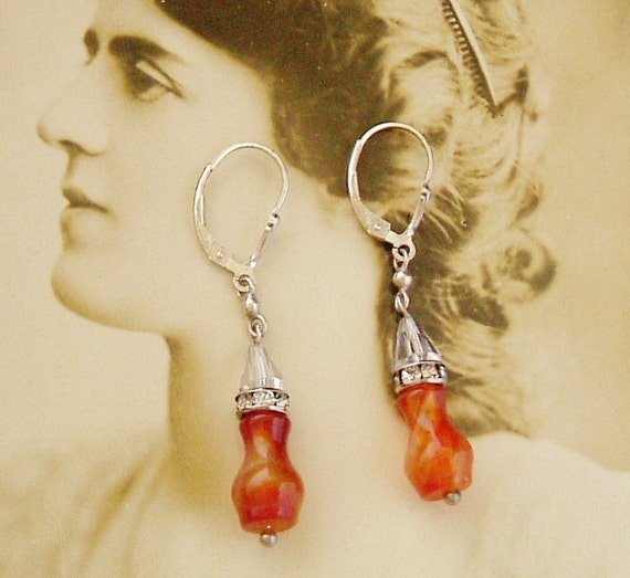 Art deco sterling silver carnelian crystal and paste rondelle earrings from vintage beads