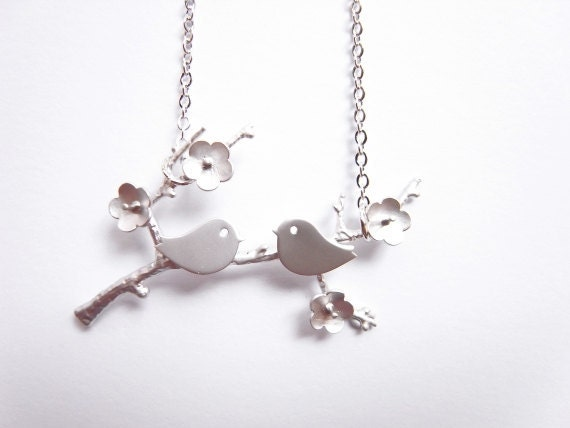 Little lovebirds on branch necklace / Woodland necklace /Silver branch necklace.