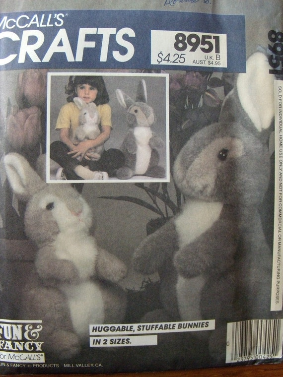 Vintage McCalls Crafts Pattern 8951 Bunny Package