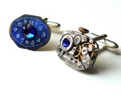 Steampunk Cufflinks Deconstructed Watch Cufflinks Cobalt Blue OOAK Steampunk Accessories by pennyfarthingdesigns on