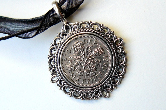 Silver Pendant 50th Birthday 1962 Vintage Sixpence Steampunk Silver Jewelry by pennyfarthingdesigns on Etsy