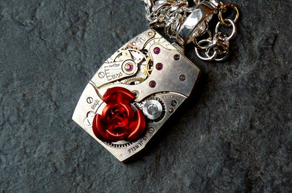 Steampunk Necklace, Steampunk Watch Necklace, Gothic Necklace, Red Necklace, Rose Steampunk Jewelry by pennyfarthingdesigns on Etsy