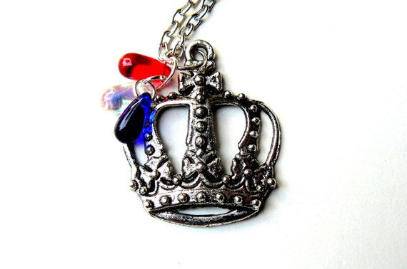 British Necklace, Silver Crown Necklace, Red White & Blue, London Olympics Diamond Jubilee, British Jewelry by pennyfarthingdesigns on Etsy