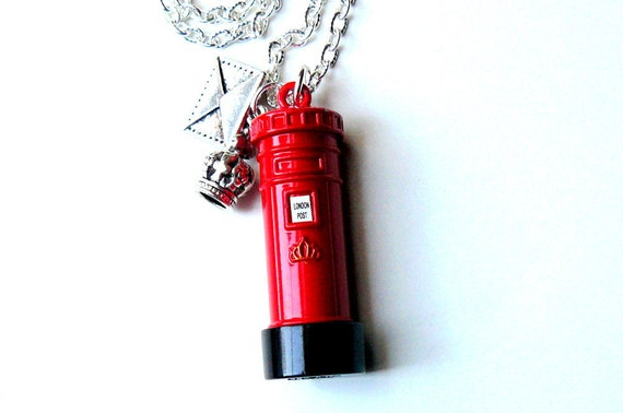 London Necklace, Red Post Box, Silver Envelope, Crown, Gothic Steampunk London Jewelry by pennyfarthingdesigns on Etsy