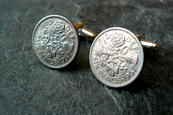 Silver Cufflinks 55th Birthday 1957 Vintage Sixpence Unisex OOAK Steampunk  Silver Jewelry by pennyfarthingdesigns on Etsy